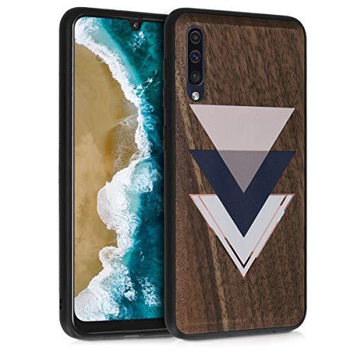 kwmobile Holz Schutzhülle für Samsung Galaxy A50 - Hardcase Hülle mit TPU Bumper Walnussholz in Holz Glory Dreiecke Design Dunkelblau Altrosa Dunkelbraun - Handy Case Cover