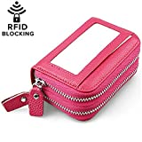 Huztencor Womens Credit Card Holder Wallet Leather Ladies Women RFID Blocking Slim Compact Wallet Purses Multi Card holder Case Sleeve Concertina for Women with Coin Zip Purse Pink