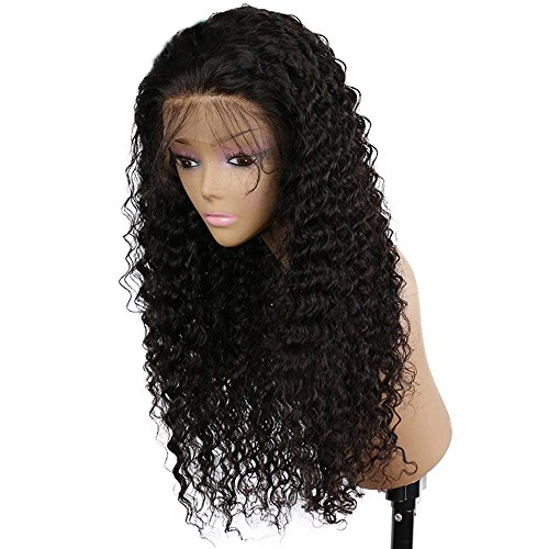 Hyishion parrucca di capelli naturali umani vergine brasiliani tipo remy sciolti ricci con pizzo frontale per donne di colore, senza colla, per donne, veri ondulat capelli neri 150% denisity 24inch