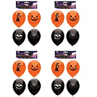 Henbrandt 4 x Pack of 15 Halloween Balloons - Black & Orange (60 Balloons)