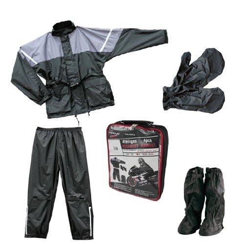 Roleff Racewear Juego de Chaqueta y Pantalón Impermeables 4 Piezas, Negro/Gris, XXXL
