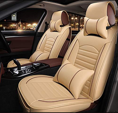 GR&ST Autositzkissen Komfortable Autositzbezug Haltungskorrektur Atmungsaktiv Leder Autositzschutz Pad (Full Set Beige)