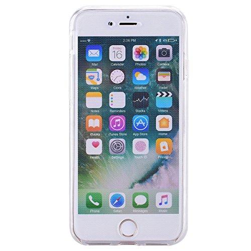 SMART LEGEND iPhone 7 Weiche Silikon Hülle Double Touch Case Komplette 360°Grad Vorne Hinten Beidseitiger Schutz Transparent Full Body Handytasche Front Back Doppelseitig Bumper Handyhülle Durchsichti Transparent