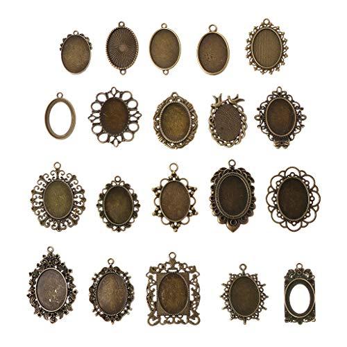 Wanfor 20 Stück Anhänger Tablett - zufällige gemischte Cabochon-Rahmen, Lünette, Tablett für DIY Schmuckherstellung