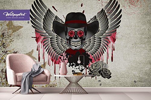 Cool Betten Vintage Sugar Skull Wall Mural, selbstklebendes Wand Kunst, Temporäre schälen und Stick Tapete 26 Modern 146.5