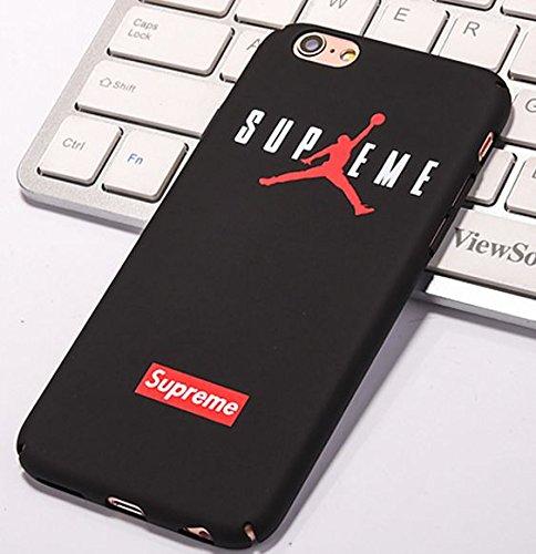 Coque iPhone 6 6S Supreme Jordan Air Logo Plastique rigide Noir et Rouge