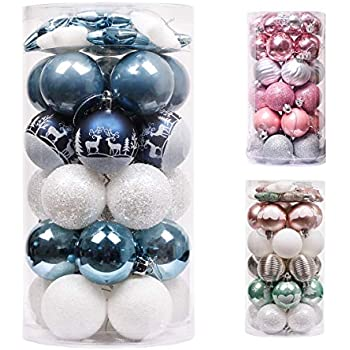 Valery Madelyn 9pcs Christmas Baubles Ornaments Set 2.4Inch//6cm Silver and Blue Plastic Shatterproof Christmas Balls Decoration Christmas Tree Pendants Gifts Winter Wishes