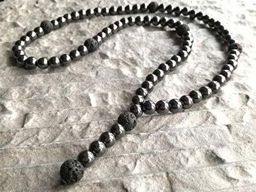 Collana da uomo perle di lava 10mm ematite 8mm pietra semipreziosa pendente Rocker Biker Y Collana catena fatta a mano/ALLA