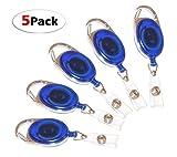 #6: Dahsha 5 Pcs I.D. Card Retractable Holder Oval Badge Yo Yo Clip Blue