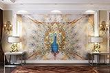 Weaeo Benutzerdefinierte Fototapete Stereoskopischen 3D-Tapete Wohnzimmer Tv Hintergrund Wand Peacock Marmor Hintergrund-280 X 200 Cm