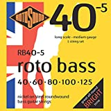 Rotosound Roto Bass Jeu de 5 cordes pour basse Nickel Filet rond Tirant medium (40 60 80 100 125)