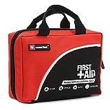 160 Stück Premium First Aid Kit Tasche - Inklusive Kalt (Eis) Pack, Notfalldecke, Glühkerze, Kompass, Schere (Rot) (Rot)