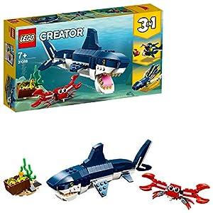 LEGO Creator CreaturedegliAbissi:Squalo, Granchio e Calamaro o Rana Pescatrice, Set da Costruzione 3 in 1 per Avventure Marine,Giocattoli per Bambini dai 7 Anni in su, 31088  LEGO