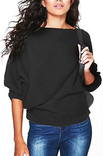 Pullover Xl Damen Schwarz (Yidarton Damen Pullover Oversized Rippe Knitted Batwing Baggy Jumper Top Strickjacken (XL, Schwarz))