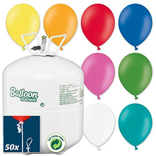 PartyMarty Helium-Ballon-Set Kunterbunt: Ballongas Helium Flasche inkl. 55 Bunte Luftballons + 50x Ballonband mit Schnell-Verschluss - für Kindergeburtstag, Sommerparty Geburtstag Kinderparty & Co