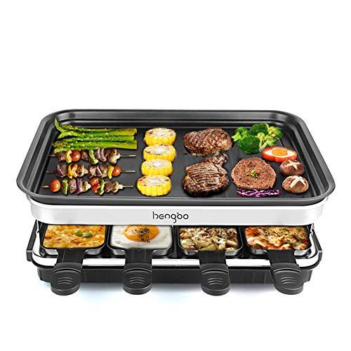 Raclette Grill per 8 Persone, Piastra Raclette in Alluminio, 8 Pentolini da Raclette, Calore Regolabile Continuo Termostato, 1500 Watt