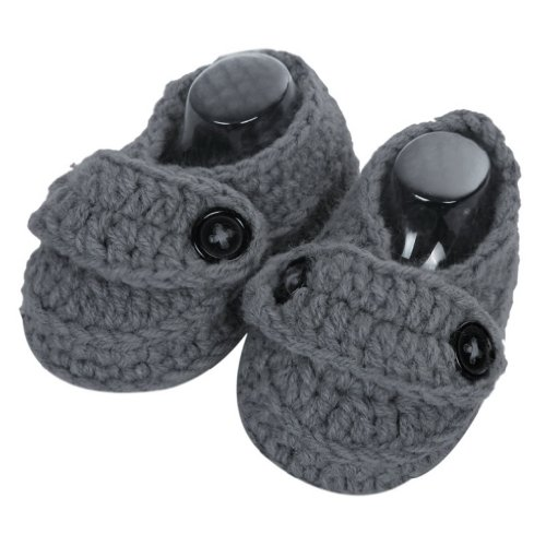 Smile YKK Baby Krabbelschuhe Gestrickte Schuhe flauschige Länge 11 cm Panda Blau Augen Dunkelgrau I
