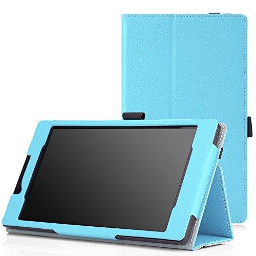 MoKo Lenovo Tab 2 A7-10 Hülle - PU Leder Tasche Ständer Schutzhülle Schale Smart Case Cover mit Standfunktion für Lenovo Tab 2 A7-10 7 Zoll 17.8cm IPS Android Tablet, Hellblau