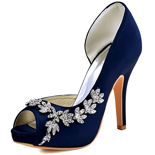 Elegantpark hp1560iac donna partito pompe peep toe d'orsay strasss tacco a spillo satin scarpe da sposa blu marina eu 37