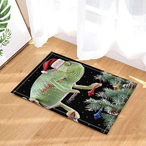 HTSJYJYT Weihnachtsdekor-Chamäleon mit Weihnachtsmütze und Geschenken Star Sky-Hintergrund Badteppiche rutschfeste Fußmatte Bodeneinstiege Indoor Haustürmatte Kids Mat 60X40CM (Chamäleon-hintergrund)