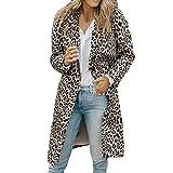 SMILEQ Ausverkauf Damen Mädchen Herbst Winter Warme Langarm Leopard Druck Mode Tasche Langen Mantel (L, Grau)