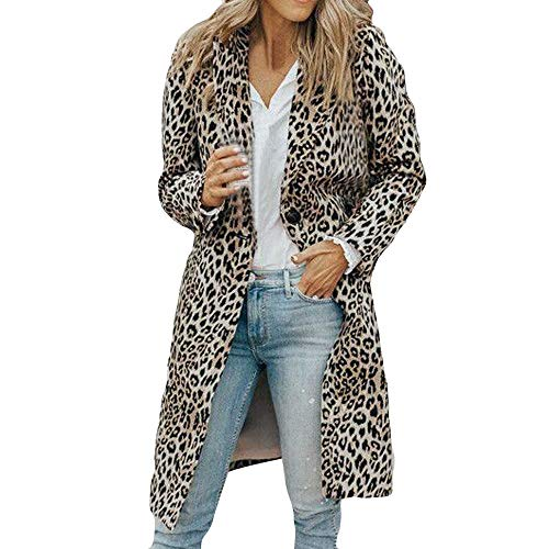 Subfamily Pullover & Strickjacken Damenbekleidung Oberbekleidung Womens Fashion Herbst Winter Langarm Leopardenmuster Pocket Long Thick Coat Damen Leopard Langer Dicker Mantel Streetwear grau