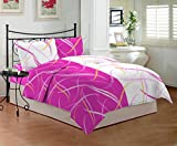 Bombay Dyeing Sestina 144 TC Cotton Double Bedsheet with 2 Pillow Covers - Pink