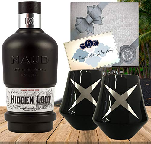 Rum Neuheit Panama Rum 3 Jahre im Bourbon Fass gereift Sonderedition NAUD Hidden Loot Geschenkset mit 2 schwarzen Gläsern Geburstag Weihnachten Rumkenner