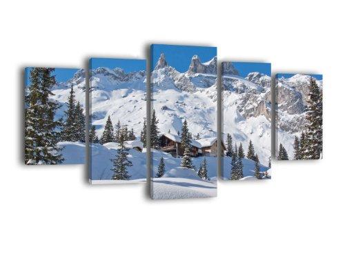 Leinwandbild Verschneite Alpen LW366 Wandbild, Bild auf Leinwand, 5 Teile, 210 x 100 cm, Kunstdruck Canvas, XXL Bilder, Keilrahmenbild, fertig aufgespannt, Bild, Holzrahmen, Gebirge, Winter, Schnee