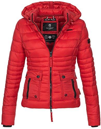 Navahoo Damen Jacke Steppjacke Übergangsjacke gesteppt Kapuze 11 Farben B602 [B602-Rot-Gr.S] (Rote Kapuzen-jacke)