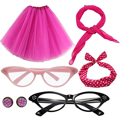 50S Costume Set Polka Dot Headband Scarf S-2XL Tutu Skirt with Cat Eye Frame