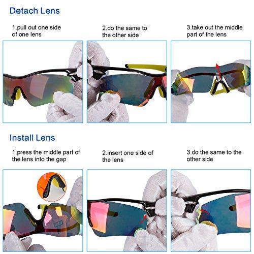 Navestar Radsportbrille Sport Sonnenbrille für Herren und Damen, Fahrradbrille mit 5 Austauschbare Lens UV400 Sportbrille für Radfahren, Fahren, Motorradfahren, Klettern, Angeln, Wandern Weiß-Blau - 5