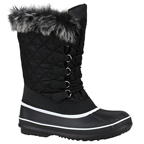 Warm Gefütterte Damen Schuhe Stiefeletten Winterboots Stiefel 152449 Schwarz Bexhill Gesteppt 39 Flandell (Stiefel Gesteppte)
