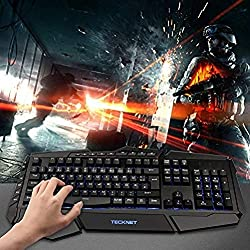 TECKNET Gaming Tastatur(QWERTZ), LED Illuminated Programmierbar Anti-Ghosting Gaming Keyboard mit USB Kabel, 7 Hintergrundfarben, 4 benutzerdefinierte Tasten, Wasserrdicht