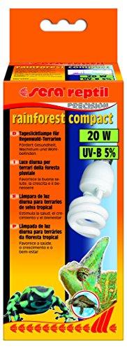 Sera 32020Reptil Rainforest Compact/20W (5% UV B) la luz Diurna lámpara para terrarios de Bosque de Lluvia, favorece Salud, Crecimiento y Bienestar