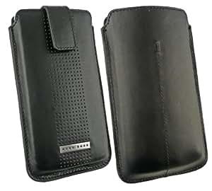 Original Hugo Boss Schwarz Smooth Leder Vertikal Tasche Hülle Etui mit Pull Tab Release ( Größe XXL ) Geeignet für Großpackung Huawei Ascend G6