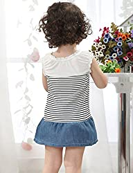 Girls Kids Toddlers Denim Lace Bow Party Princess Tulle Dress Summer by Angel's Wings