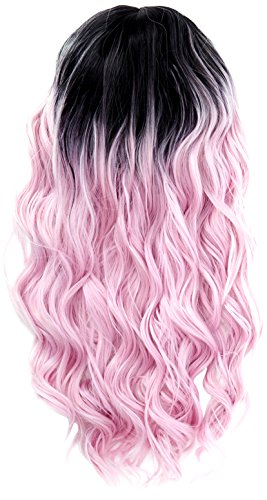 Amback long dye dark roots ombre parrucca cosplay di halloween per donne ricci onda parrucche cap/luce rosa rf14
