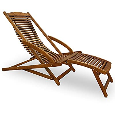 Sunlounger - Sonnenliege aus Akazienholz - Gartenliege Liegestuhl Holzliege