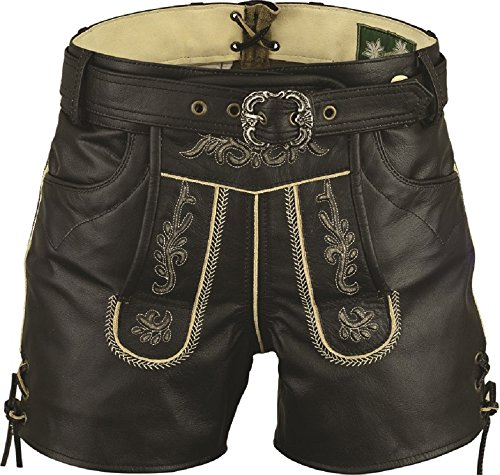 Lederhose mit Gürtel-Echt Leder Nappa antik Trachten Lederhose kurz, Damen Trachtenlederhose mit Gürtel in Schwarz (36, Schwarz)