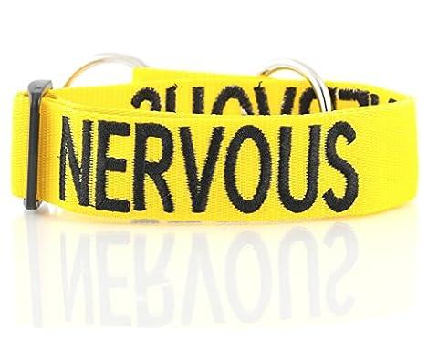 Nerveux Collier Couleur Jaune Coded Nylon large L-XXL Semi-Choke Dog (Give Me Space) prévient les accidents en avertissant les autres de votre chien à l