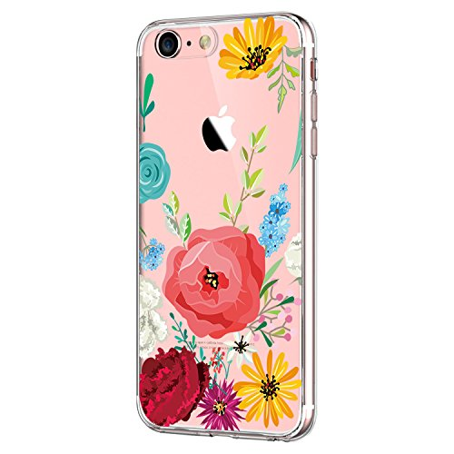 Yimer iPhone 7 Hülle, transparentes TPU Case Silikon der Tiere Backcover Handyhülle kreatives Design Panda Muster Bedecken zurück für Apple iPhone 7 Case Cover (iPhone 7, Rose Flower) Flower Design Iphone