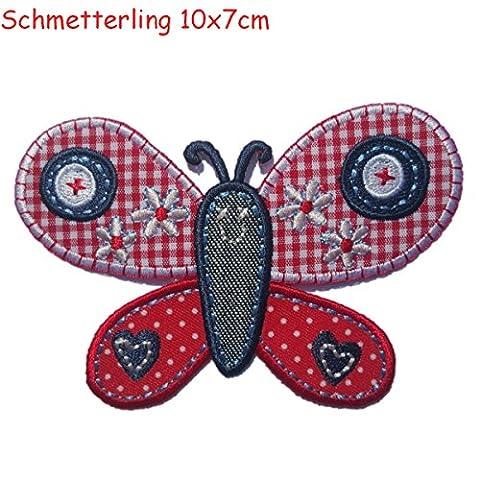 2 Ecussons patch appliques Papillon 10X7Cm Hibou 8X5Cm thermocollant brode broderie pour vetement jeans veste enfant bebe femme avec dessin TrickyBoo Zurich Suisse pour France