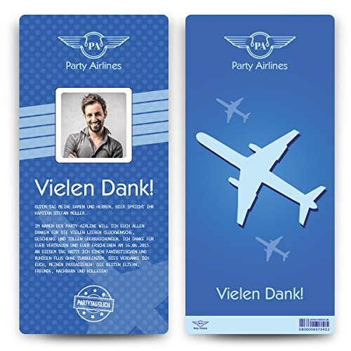 Danksagungskarten (10 Stück) - Flugticket - Boarding Pass Dankeskarten Danksagung in Blau
