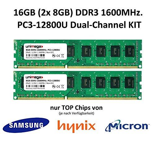 unimega 16GB (2x 8GB) Dual Channel KIT DDR3 1600MHz PC3-12800U 240PIN 1,35V Non-ECC 3rd. PC RAM Speicher Memory mit Premium-Chips von Samsung, Hynix oder Micron (16-chip Speicher-modul,)