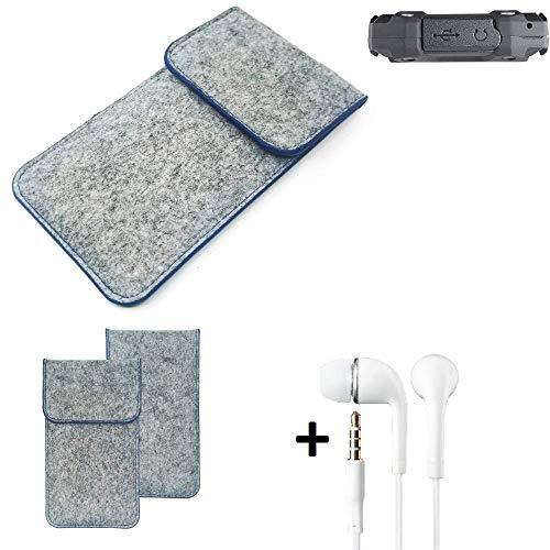 K-S-Trade® Filz Schutz Hülle Für -simvalley Mobile SPT-210- Schutzhülle Filztasche Pouch Tasche Handyhülle Filzhülle Hellgrau, Blauer Rand + Kopfhörer