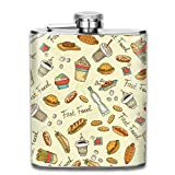 ballon de hanche Pattern with Hand Drawn Fast Food Fashion Portable 304 Stainless Steel Leak-Proof Alcohol Whiskey Liquor Wine 7OZ Pot Hip Flask Travel Camping Flagon for Man Woman Flask Great Little