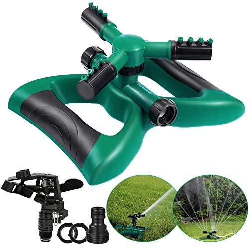 Garten Sprinkler Rasensprenger, Rasen Wasser Sprinkler Automatische 360 Grad 3-Arm Rotierende Wasser Sprenger mit 2 verschiedenen Düsenmodi für Rasen Gärten Pflanzen Pflanzen Blumen Bewässerung
