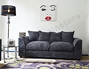 Dylan Byron Grey Fabric Jumbo Cord Sofa Settee Couch 3 Seater by Dylan by furniturestop.co.uk