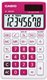 Casio SL-300NC-RD Taschenrechner in Trendfarbe, 8-stelliges Extra Big LC-Display, rot